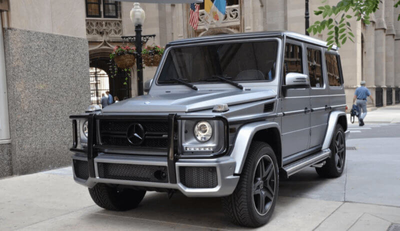Mercedes G63 AMG in matte grey wedding car.
